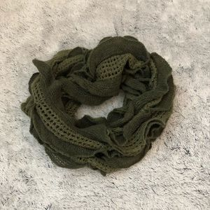 Green Frilly Infinity Scarf